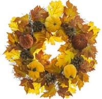 "24"" Faux Velvet Pumpkin, Rosehip, and Pine Cone Wreath"