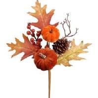 "16"" Faux Brown Velvet Pumpkin and Berry Oak Spray"