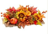"24"" Faux Apple and Sunflower Fall Centerpiece on Wood Pedestal"