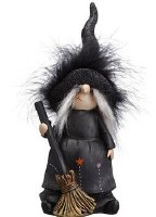 """9"""" Black Witch With a Broom and Black Fuzzy Hat"""