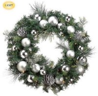 """24"""" LED Faux Cedar and Pine Cone Wreath with Silver Ornaments"""