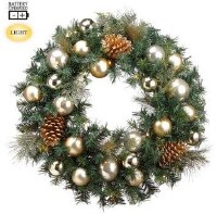 """24"""" LED Faux Cedar and Pine Cone Wreath with Gold Ornaments"""