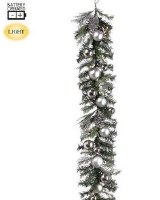 6' LED Faux Cedar and Pine Cone Garland With Silver Ornaments