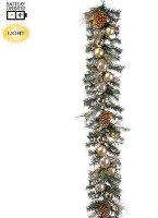6' LED Faux Cedar and Pine Cone Garland With Gold Ornaments