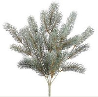 """18"""" Faux Green Frosted Round Tip Pine Bush"""