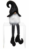 """21"""" Halloween Gnome With Black Cobweb Witch Hat"""