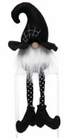 """12"""" Halloween Gnome With Black Cobweb Witch Hat"""