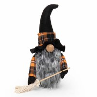 "13"" Gnome With Broom and Orange Plaid Witch Hat"