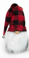 "8"" Gnome With Glasses and Red Buffalo Plaid Hat"