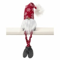 "18"" Gnome With Snowflake Hat and Striped Legs"