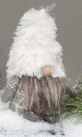 "6"" Gnome With Gray Beard and White Furry Hat"