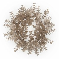 """6"""" Opening Faux Platinum Metallic Eucalyptus Candle Ring"""