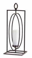 """24"""" Metal Oval In Rectangle Frame Pillar Candle Holder"""