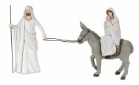 "11"" White and Gray Holy Family With Donkey"