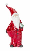 "15.5"" Red Resin Santa With Bird"