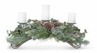 "31"" Frosted Pine Eucalyptus Triple Pillar Candle Centerpiece"