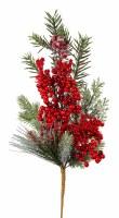 "21"" Red Berry Iced Pine Spray"