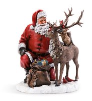 "12"" Resin Santa With Deer"