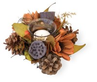 """3"""" Orange and Brown Pod Pine Cone Votive Wreath"""