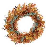 "21"" Round Orange and Blue Fall Wreath"