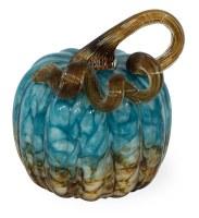 "5.5"" Blue and Brown Glass Pumpkin"
