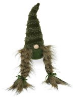 "11"" Fall Dark Green Gnome With Braids"