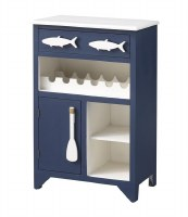 "24"" Blue and White Fish Wine Bar"