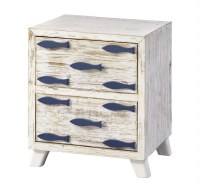 "19"" White and Blue Two Drawer Fish Cabinet"