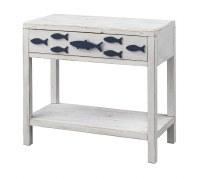 "32"" White and Blue Fish Console"