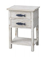 "17.5"" White and Blue Fish Night Stand"