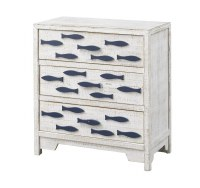 "26"" White and Blue Three Door Fish Cabinet"