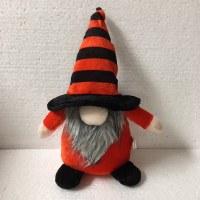 "7"" Halloween Orange Gnome With Striped Hat"