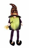 """18"""" Halloween LED Green Beard Witch Gnome"""