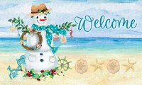 Welcome Coastal Snowman Doormat