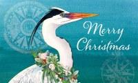 Merry Christmas Heron Doormat