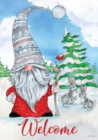 Mini Winter Gnome Welcome Flag
