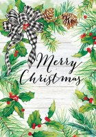 Mini Merry Christmas Holly Pine Flag