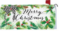 Merry Christmas Holly Pine Mailbox Cover