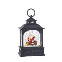 "8.5"" LED Santa With Animals Glitter Lantern"