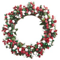 """3"""" Red, White and Green Berry Candle Ring"""