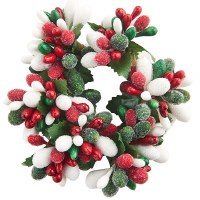 "1"" Red, White and Green Berry Candle Ring"