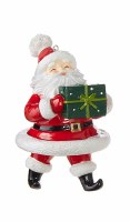 """5"""" Santa With One Gift Ornament"""