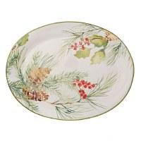 """16"""" Oval Christmas Pine Ceramic Platter"""