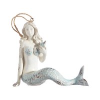 "5"" Antique White and Blue Mermaid Ornament"