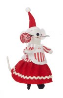 "7.5"" Red and White Girl Mouse Ornament"