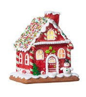 """7"""" LED Red Gingerbread House"""