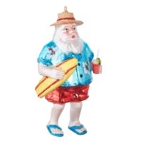 "5"" Tropical Santa Glass Ornament"