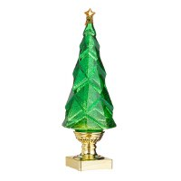 """14"""" LED Green Swirl Tree With Gold Base"""