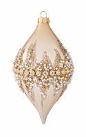 "4"" Gold Bead Diamond Ornament Glass"