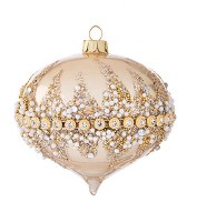 "3"" Gold Bead Onion Ornament Glass"